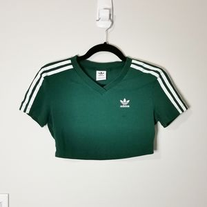 Adidas / TNA green 3 stripe crop top